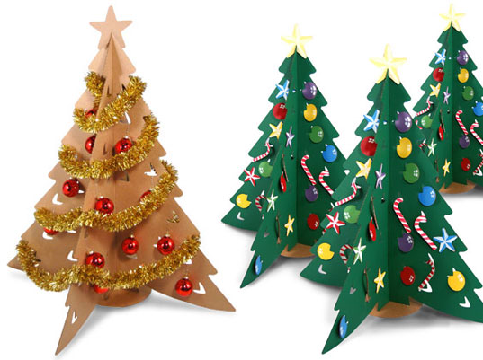Orange white christmas tree cardboard decorating ideas
